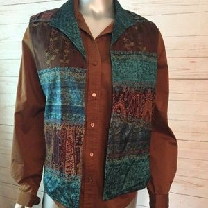 Cold Water Creek Size M Layered 2pc Vest W/Brown